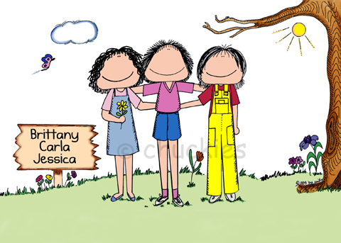 FriendsChuckies Cartoons Personalised Picture Gifts